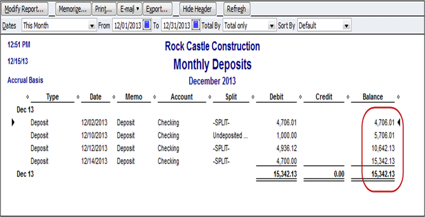 QuickBooks Tip: Report of Bank Deposits with Total - Long
