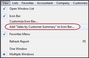 QuickBooks add to icon bar