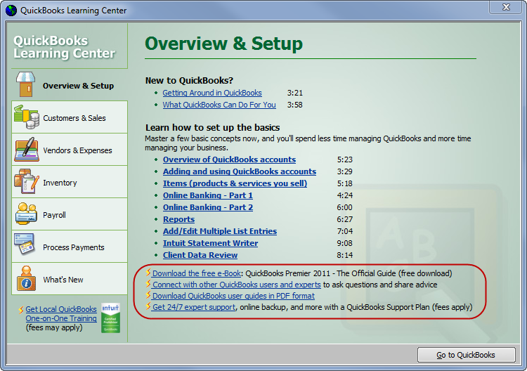 QuickBooks Learning Center - free video tutorials