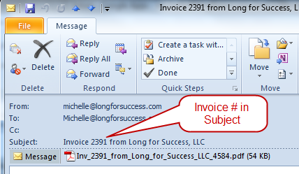 QuickBooks Tip Customize Email To Include Transaction In Subject - Send invoice quickbooks