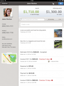 QuickBooks Online for iPad App - Customer Feed
